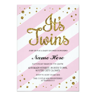 Itu0026#39;s Twins Girls Baby Shower Pink Gold Invite