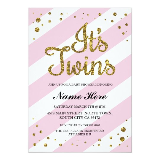 Its Twins Girls Baby Shower Pink Gold Invite Zazzle