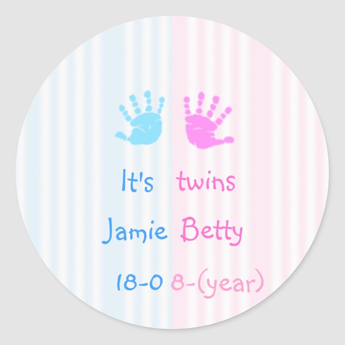 It's twins - handprints classic round sticker