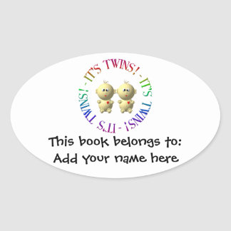 It's twins! oval sticker