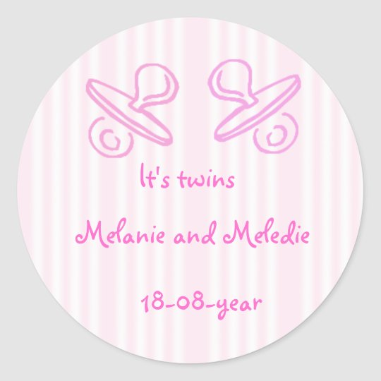 It's twins pacifier classic round sticker