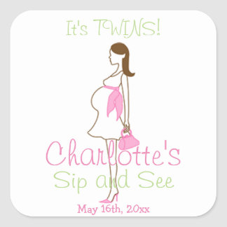 It's TWINS! Pink Silhouette Baby Sip and See Square Sticker