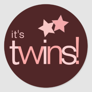 It's Twins Pink Stars on Brown Baby Sticker