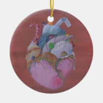 sugar, fueled, michael, banks, heart, candy, sweet, sweets, rainbow, lowbrow, pop, surrealism, adorable, cute, creepy, Ornament with custom graphic design