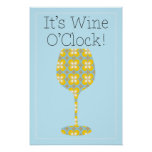 It's Wine O'Clock! Humorous Modern wine poster