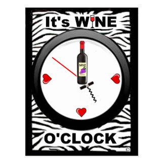 It's Wine O'Clock Postcard