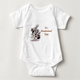 It's Wonderland Time White Rabbit With Trumpet Baby Bodysuit