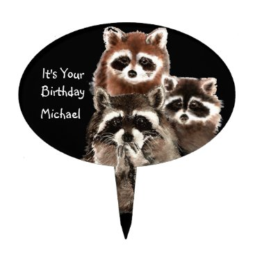 countrymousestudio It's Your Birthday with Raccoons Cute Animal Cake Topper