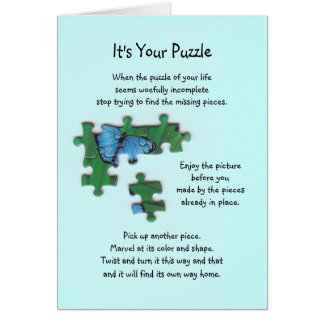 It's Your Puzzle Poem on Blue Card