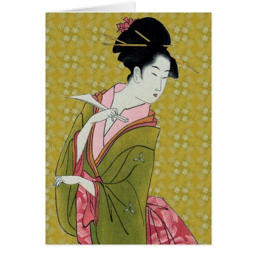 Itsutomi (1793) por Eishi Hosoda 1756-1829 Tarjeton