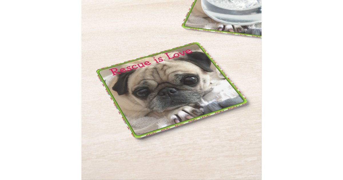 Itsy pug cardboard drink coaster rescue is love square paper coaster zazzle - Cardboard beer coasters ...