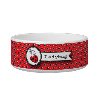 Itty Bitty Ladybug Pet Bowl - Red