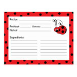 Itty Bitty Ladybug Red Recipe Card Postcards
