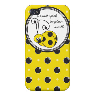 Itty Bitty Yellow Ladybug  Covers For iPhone 4
