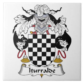 Iturralde Family Crest Large Square Tile