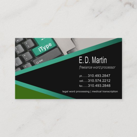 itype word processing expert freelancer business card - Freelance Business Cards