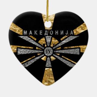 IV - Macedonia Adorno Navideño De Cerámica En Forma De Corazón