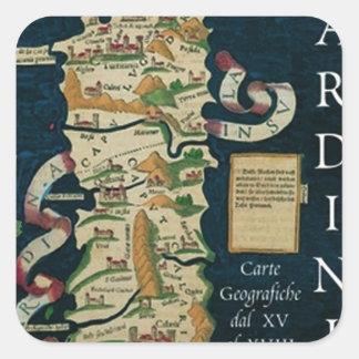 IV mapa del vintage de Sardegna Pegatina Cuadrada