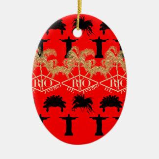 IV - Rio De Janeiro Double-Sided Oval Ceramic Christmas Ornament