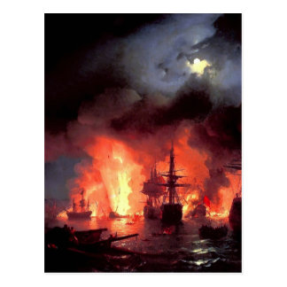 Ivan Aivazovsky- Battle of Cesme at Night Postcard