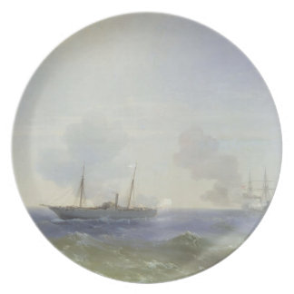 Ivan Aivazovsky- Battle of steamship Vesta Party Plate
