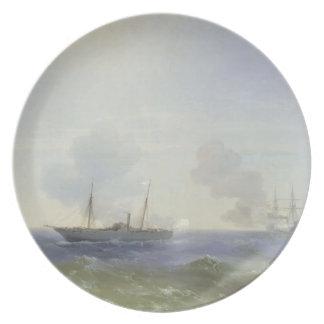 Ivan Aivazovsky- Battle of steamship Vesta Dinner Plate