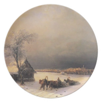 Ivan Aivazovsky- Moscow in Winter, Sparrow Hills Party Plate