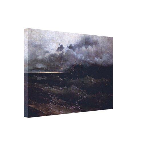 Ivan Aivazovsky - naves en salida del sol tempestu Lona Envuelta Para Galerías