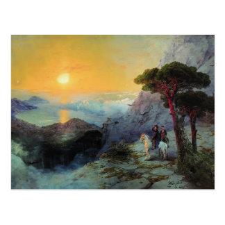 Ivan Aivazovsky- Pushkin at top ,Ai-Petri Mountain Postcard