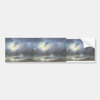 Ivan Aivazovsky- Rough sea at night Car Bumper Sticker