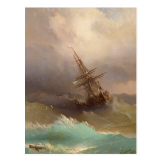 Ivan Aivazovsky- Ship in the Stormy Sea Postcard