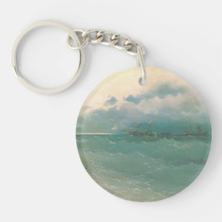 Ivan Aivazovsky- The ships on rough sea, sunrise Key Chains