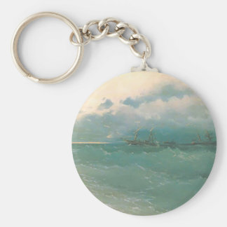 Ivan Aivazovsky- The ships on rough sea, sunrise Keychains