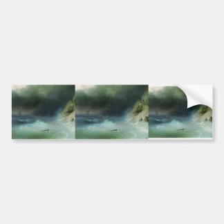 Ivan Aivazovsky- The Tempest near rocks Car Bumper Sticker