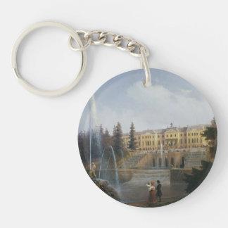 Ivan Aivazovsky-View of Big Cascade & Great Palace Single-Sided Round Acrylic Keychain
