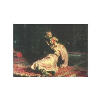 Ivan el terrible y su hijo impresión en lienzo