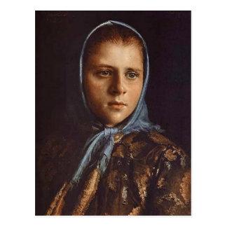 Ivan Kramskoy- Russian Girl in a Blue Shawl Postcard