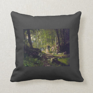 Ivan Shishkin- A Walk in the Forest Throw Pillows