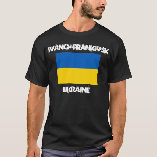 Ivano-Frankivsk, Ukraine with Ukrainian flag T-Shirt