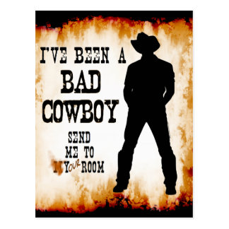 I've been a BAD COWBOY Send me to Your Room Postcard