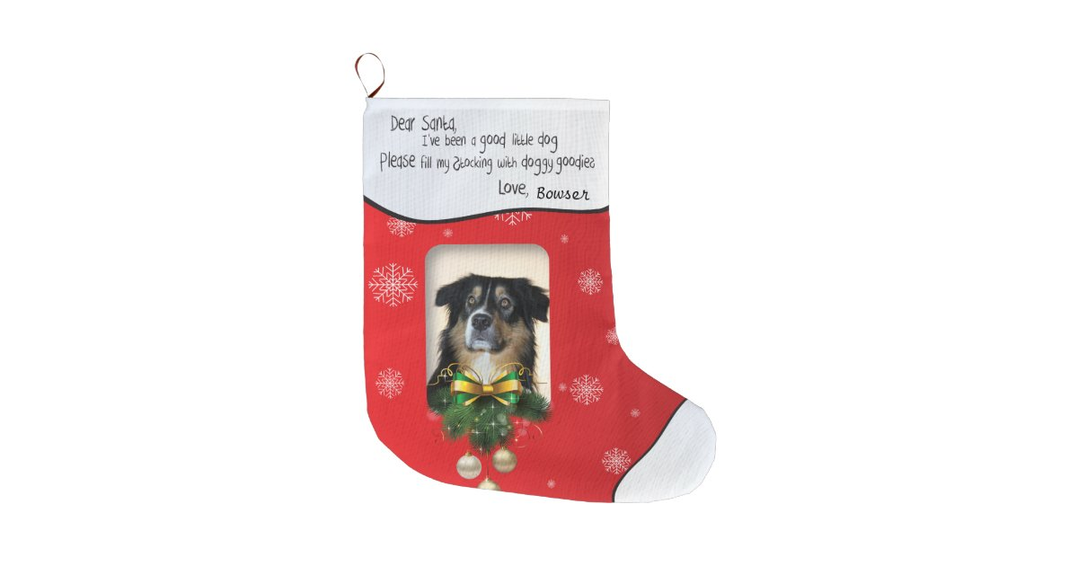 Dog Christmas Stocking.I Ve Been A Good Dog Xmas Photo Red Snowflake Large Christmas Stocking Zazzle Com