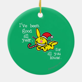 I've Been Good All Year Double-Sided Ceramic Round Christmas Ornament