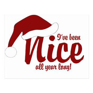 I've been nice all year long postcard
