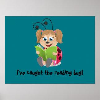 I've caught the reading bug girl ladybug poster