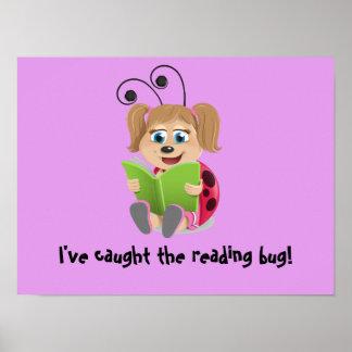 I've caught the reading bug ladybug purple poster