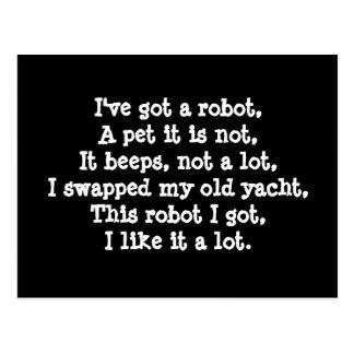 I've got a Robot. Poetry. Postcard