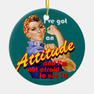 I've Got an Attitude Double-Sided Ceramic Round Christmas Ornament