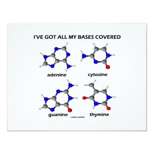 I've Got My Bases Covered (Chemistry DNA Bases) 4.25x5.5 Paper Invitation Card