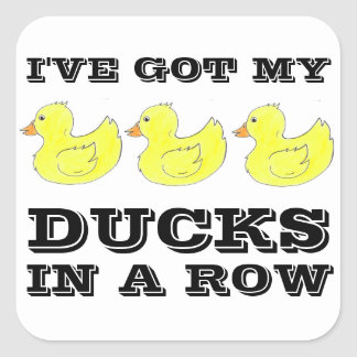 I've Got My Ducks in a Row Rubber Ducky Stickers