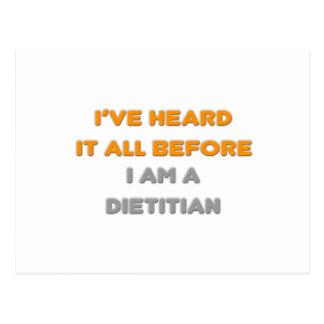 I've Heard It All Before .. Dietitian Postcard